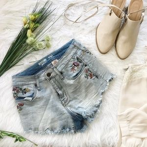Mossimo High Waist Floral Embroidery Denim Shorts